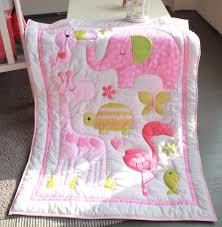 pink flamingo elephant animals 4pc baby crib bedding set cot