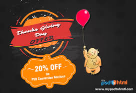 thanksgiving offers thanksgiving day offer get 20 discount on psd conversion services