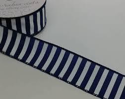 blue and white striped ribbon navy stripied ribbon etsy