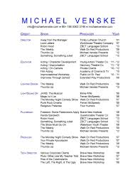 Actor Resume Template Free Acting Resume Builder Resume For Your Job Application