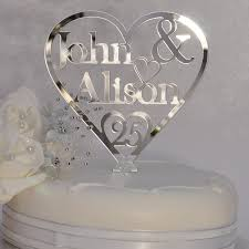 25 cake topper personalised names heart cake topper 25th silver wedding
