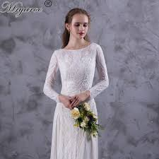 Long Sleeve Lace Wedding Dress Open Back Sleeve Lace Open Back Boho Wedding Dress Promotion Shop For