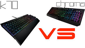 corsair gaming k70 vs razer blackwidow ultimate chroma youtube
