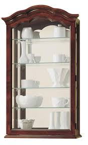 wall display cabinet w 4 adjustable shelves mirrored back