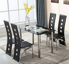 Glass Dining Sets 4 Chairs 5 Glass Dining Table Set 4 Leather Chairs Kitchen Room
