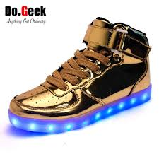 led lights shoes nike dogeek led light up shoes gold high top women and men zapatos luces