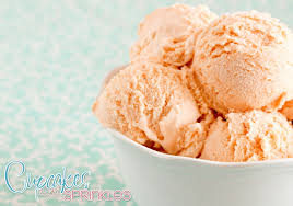 cupcakes with sprinkles peach ice cream