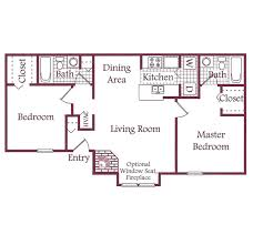 Two Bedroom Floor Plan by The Timbers Apartments In Raleigh North Carolina