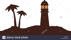 color silhouette of island with lighthouse and palm trees stock