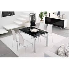Black Extendable Dining Table Calligaris Baron Metal Black Glass Extendable Dining Table Cs