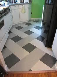 kitchen marmoleum modular tile in checkerboard design in brown