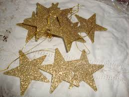 glitter star ornaments gold stars mini christmas tree decor