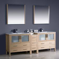Bathroom Vanities At Lowes Shop Fresca Bari Light Oak Undermount Double Sink Bathroom Vanity