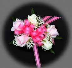 pink corsage 3 pink roses 2 white roses wrist corsage in akron pa roxanne s