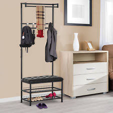 Entry Storage Bench With Coat Rack Black 2 Tier Shoe Bench Stand Unit Drawer Seat Storage Rack