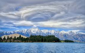 Cloud Storm Formation Near Island And Mountains Queenstown Hd