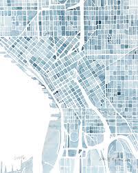 seattle map wall 10x8 seattle washington blueprint city map watercolor wall