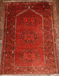 old afghan prayer rug with rams horn mihrab about 60 years old