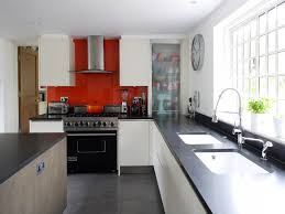 modern kitchen black and white kitchen ideas with red tile