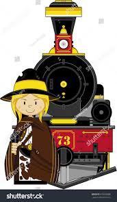 cartoon wild west cowboy steam train stock vector 619526888