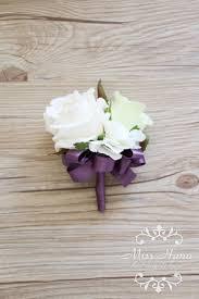 bridesmaid corsage ivory white wrist corsage purple ribbon wrist corsage
