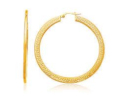 large gold hoop earrings flat key large hoop earrings in 14k yellow gold