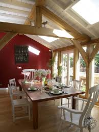 dining room interior of green oak timber framed extension in esher