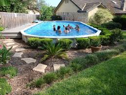 landscaping around your above ground pool image with awesome