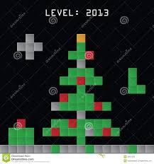 christmas tree made from tetris game blocks stock photos image