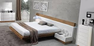Big Headboard Beds Spain Made White And Walnut Floating Bedroom Set With Large