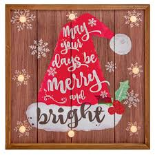 Wholesale Florist Christmas Decorations by Led Merry Days Plaque 34cm Light Up Christmas Decoration