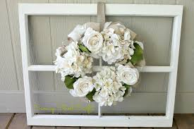 vintage window frame and wreath canary crafts