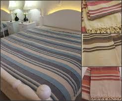 large cotton king throw bed cover orange blue aqua pink beige