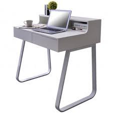 petit bureau informatique bureau informatique en bois coloris blanc et métal blanc avec tiroirs