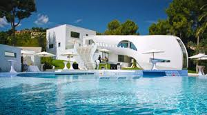 cool house pool luxury house design with unique white shape designed with