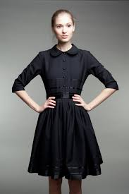 1950s black dress black wool dress tailored dress plus size black