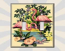 pink flamingo home decor metal light switch plate cover vintage flamingo decor pink