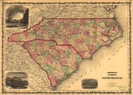 South Carolina County Map 1861 Map Of North Carolina And South Carolina