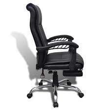 Leather Desk Chair by Black Artificial Leather Office Chair With Adjustable Footrest