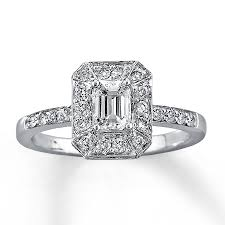 Kay Jewelers Wedding Rings by Kay Diamond Engagement Ring 1 Ct Tw Emerald Cut 14k White Gold