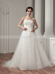 tulle wedding dresses floral and beaded strapless satin and tulle wedding dress