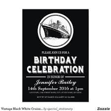 Black Invitation Card Vintage Black White Cruise Ship Birthday Invitation Card