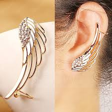 earrings for women fashion golden rhinestones wing women ear clip earrings 10714265