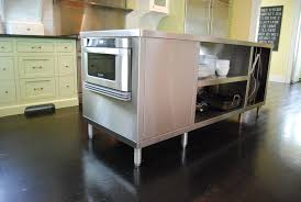 furniture simple stainless steel kitchen island on dark hardwood