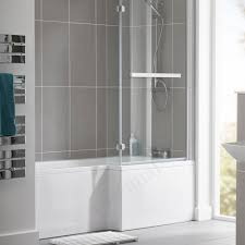 buy the essential kensington l shape shower bath pack 1700x850mm essential kensington l shape shower bath pack right handed 1700x850mm 0 tap holes white