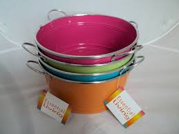bright coloured round tin planter novelty garden accessory home