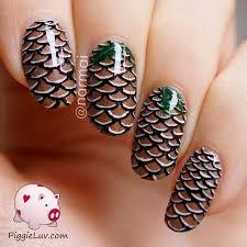 piggieluv pine cone nail art video tutorial