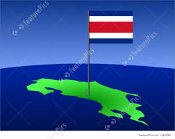 Costarica Flag Map Of Costa Rica With Flag Illustration