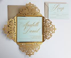 wedding invitations and gold gold laser cut wedding invitations sle mint and gold