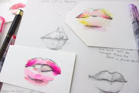 watercolor lips tutorial u0026 how to draw lips in 3 4 view